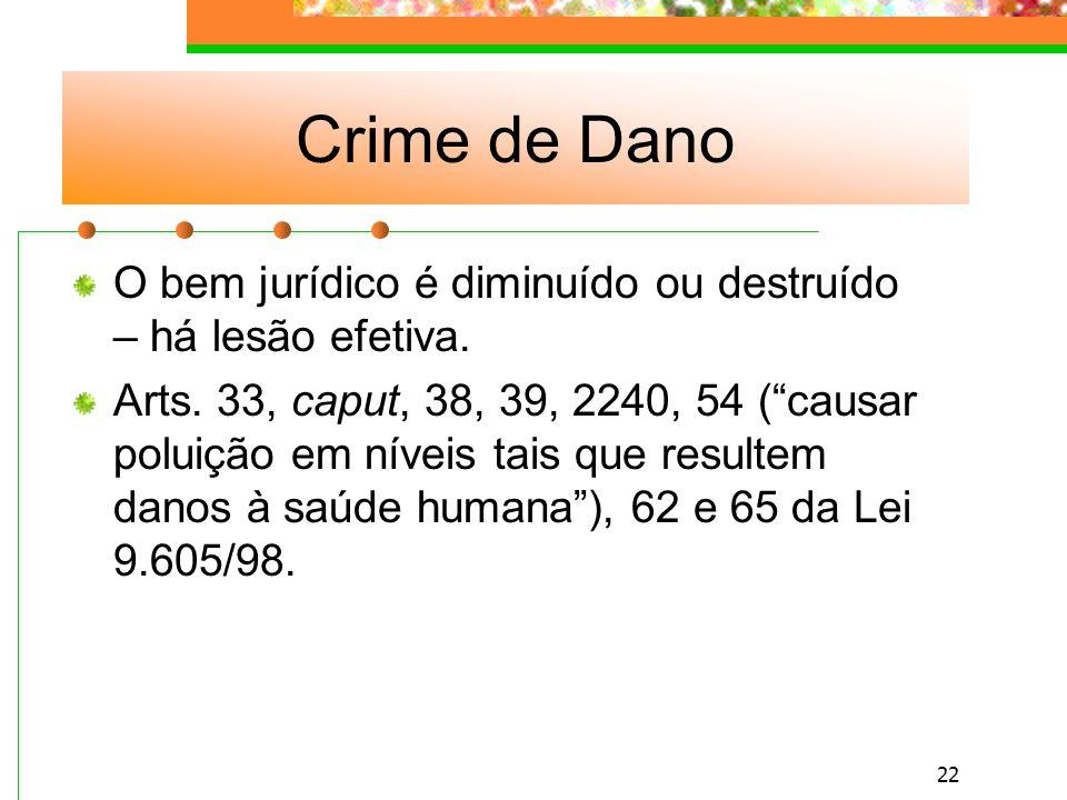 Crime de Dano O bem jurídico é diminuído ou destruído – há lesão efetiva.