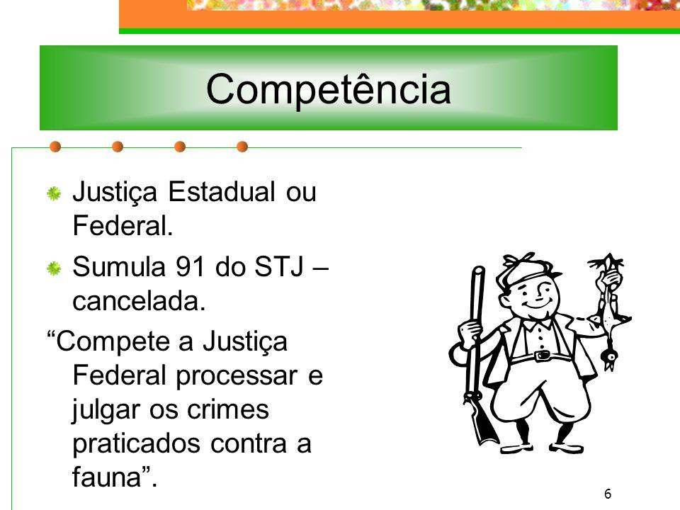 Competência Justiça Estadual ou Federal. Sumula 91 do STJ – cancelada.