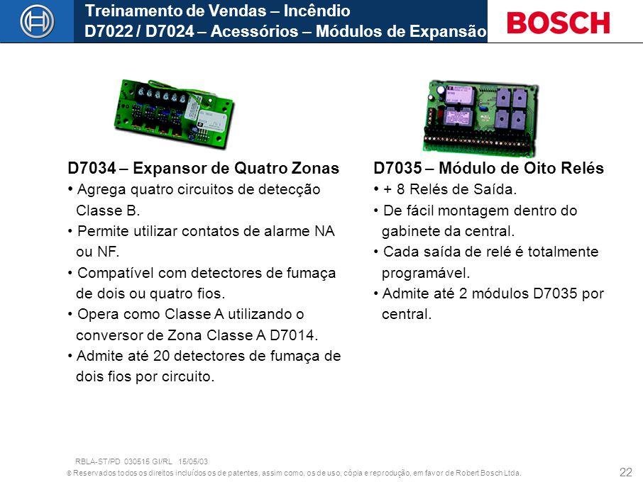 D7034 – Expansor de Quatro Zonas Agrega quatro circuitos de detecção