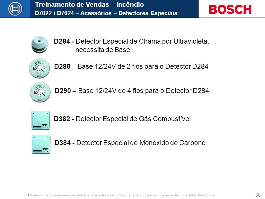 Treinamento de Vendas – Incêndio D7022 / D7024 – Acessórios – Detectores Especiais