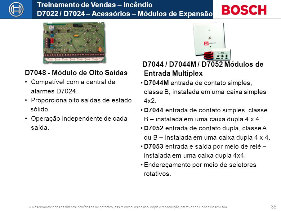 D7044 / D7044M / D7052 Módulos de Entrada Multiplex