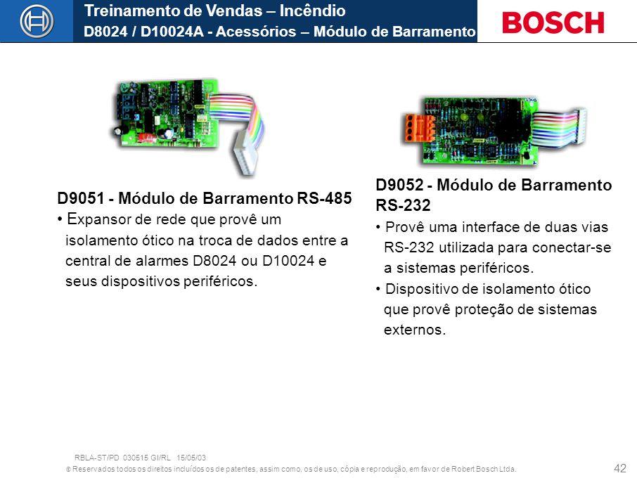 D9051 - Módulo de Barramento RS-485 Expansor de rede que provê um