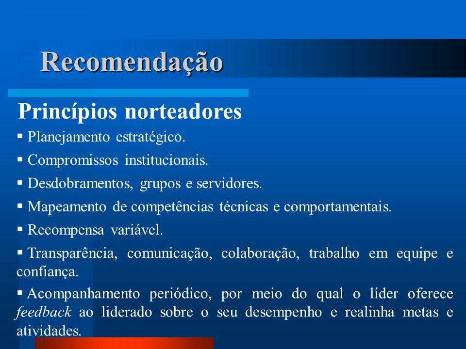 Recomendação Princípios norteadores Planejamento estratégico.