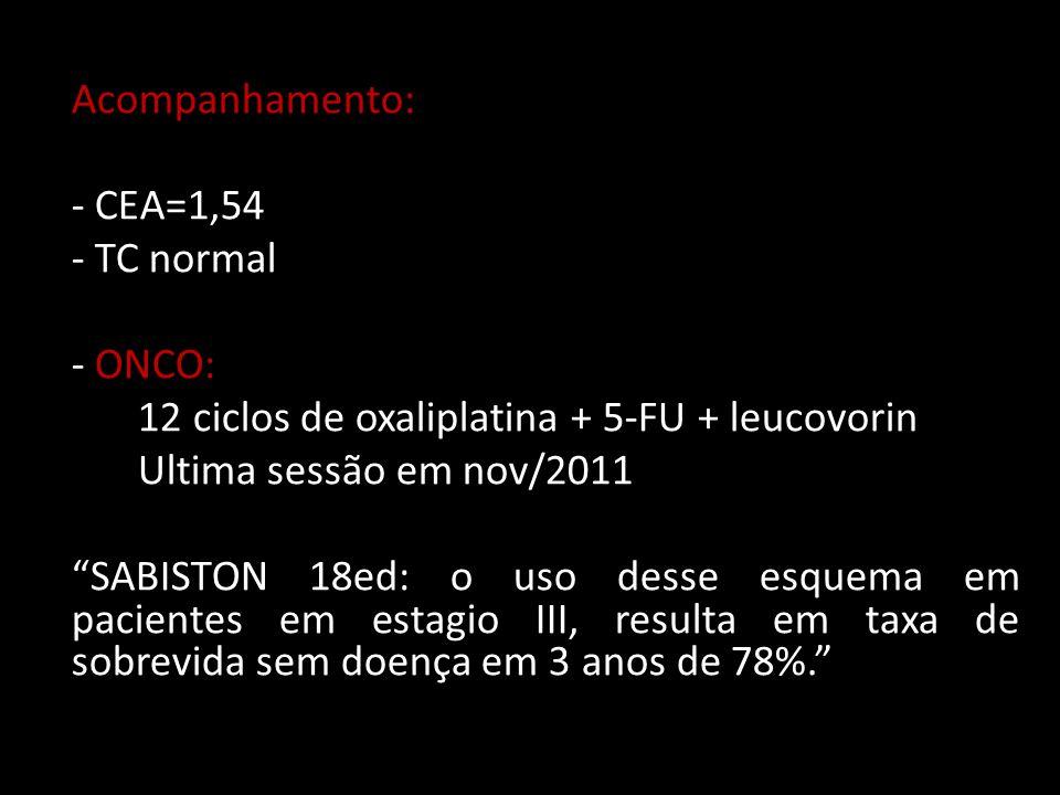 Acompanhamento: - CEA=1,54 - TC normal - ONCO: 12 ciclos de oxaliplatina + 5-FU + leucovorin Ultima sessão em nov/2011 SABISTON 18ed: o uso desse esquema em pacientes em estagio III, resulta em taxa de sobrevida sem doença em 3 anos de 78%.