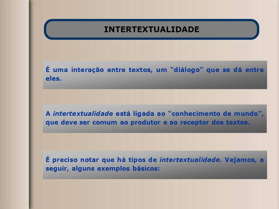 INTERTEXTUALIDADE É uma interação entre textos, um diálogo que se dá entre eles.