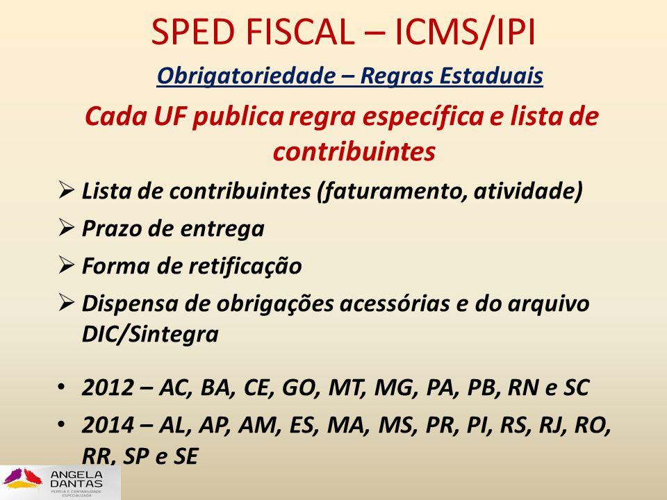 SPED FISCAL – ICMS/IPI Obrigatoriedade – Regras Estaduais. Cada UF publica regra específica e lista de contribuintes.