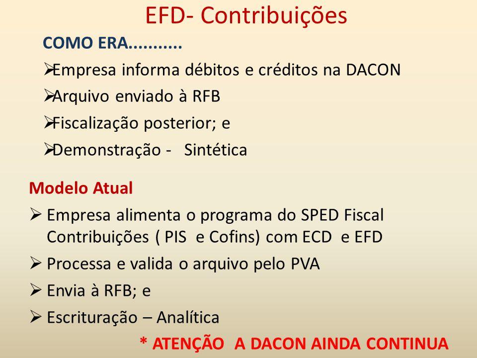 EFD- Contribuições COMO ERA...........