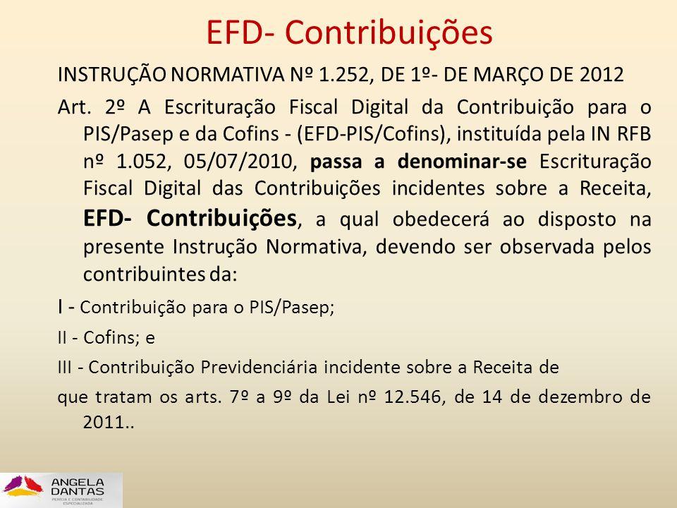 EFD- Contribuições INSTRUÇÃO NORMATIVA Nº 1.252, DE 1º- DE MARÇO DE 2012.