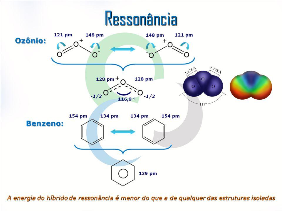Ressonância A energia do híbrido de ressonância é menor do que a de qualquer das estruturas isoladas.