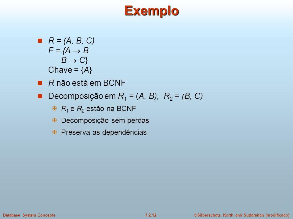 Exemplo R = (A, B, C) F = {A  B B  C} Chave = {A} R não está em BCNF