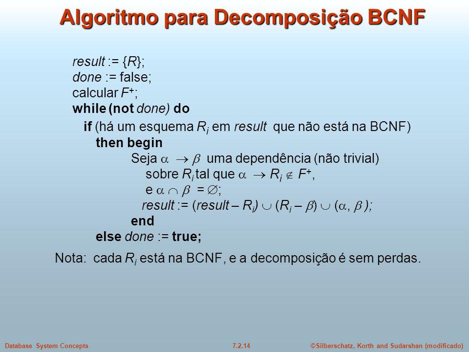 Algoritmo para Decomposição BCNF
