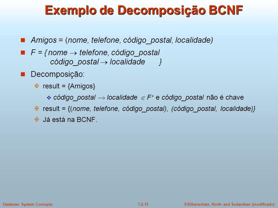 Exemplo de Decomposição BCNF