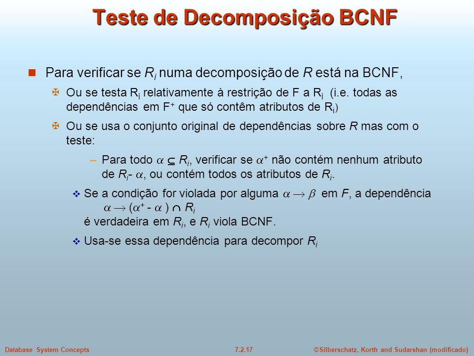 Teste de Decomposição BCNF