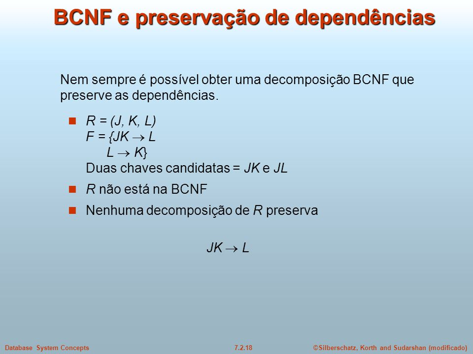 BCNF e preservação de dependências