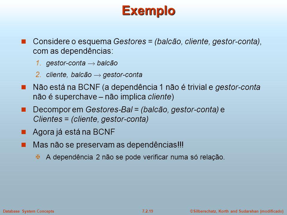 Exemplo Considere o esquema Gestores = (balcão, cliente, gestor-conta), com as dependências: gestor-conta  balcão.