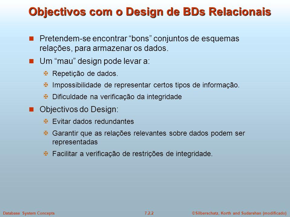 Objectivos com o Design de BDs Relacionais