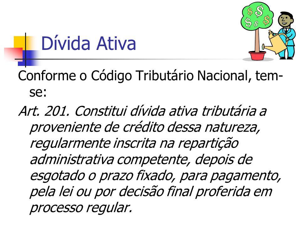 Dívida Ativa Conforme o Código Tributário Nacional, tem-se: