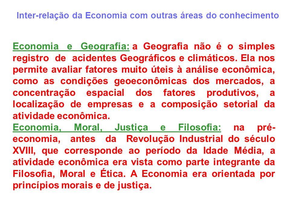Inter-relação da Economia com outras áreas do conhecimento