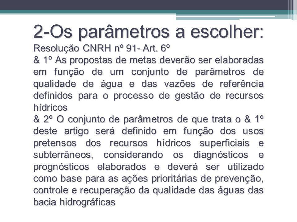 2-Os parâmetros a escolher: Resolução CNRH nº 91- Art. 6º