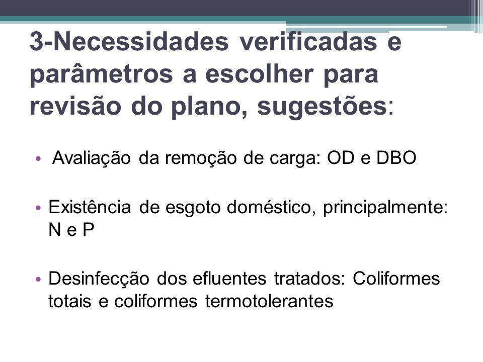 3-Necessidades verificadas e parâmetros a escolher para revisão do plano, sugestões: