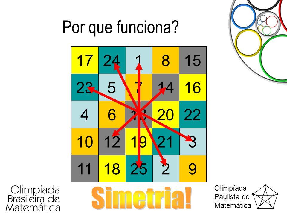 Por que funciona 17 24 1 8 15 23 5 7 14 16 4 6 13 20 22 10 12 19 21 3 11 18 25 2 9 Simetria!
