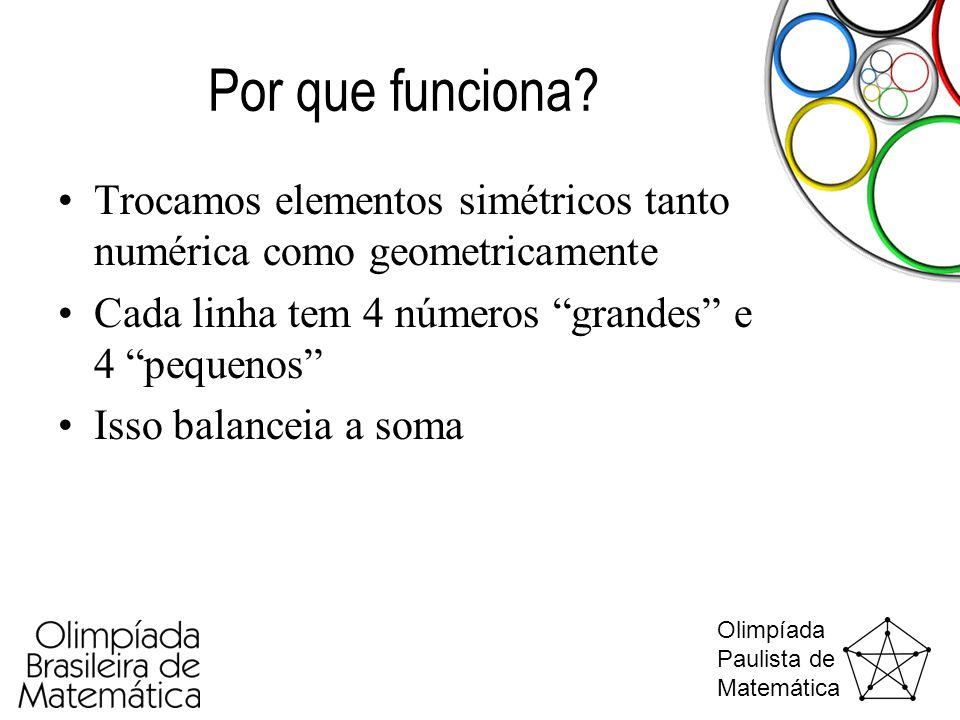 Por que funciona Trocamos elementos simétricos tanto numérica como geometricamente. Cada linha tem 4 números grandes e 4 pequenos