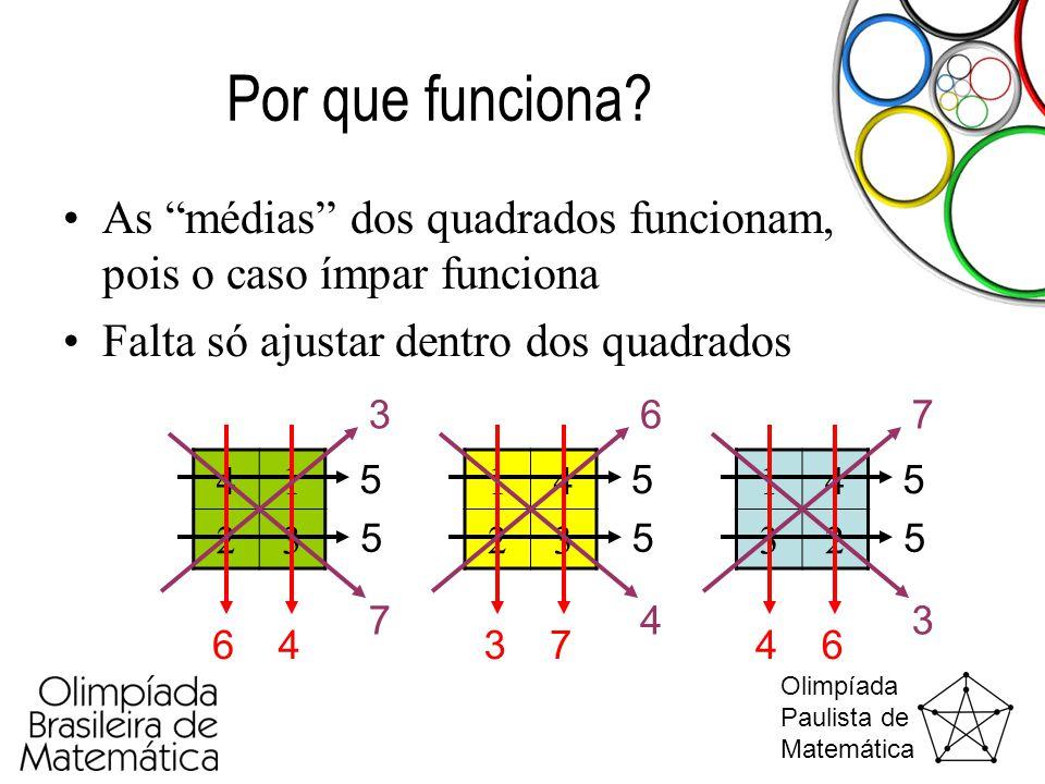 Por que funciona As médias dos quadrados funcionam, pois o caso ímpar funciona. Falta só ajustar dentro dos quadrados.