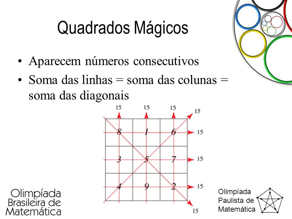 Quadrados Mágicos Aparecem números consecutivos
