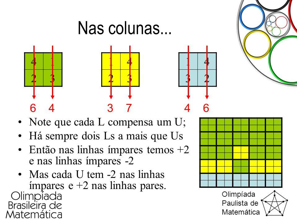 Nas colunas... 4. 1. 2. 3. 1. 4. 2. 3. 1. 4. 3. 2. 6. 4. 3. 7. 4. 6. Note que cada L compensa um U;