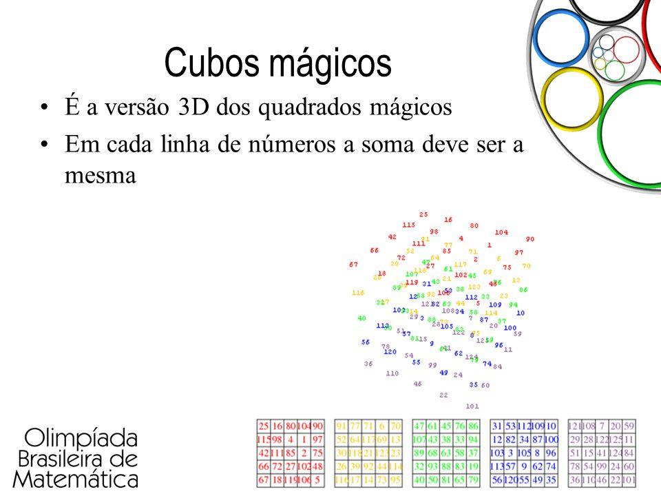 Cubos mágicos É a versão 3D dos quadrados mágicos