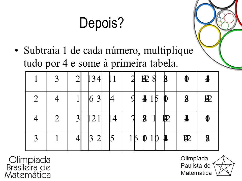 Depois Subtraia 1 de cada número, multiplique tudo por 4 e some à primeira tabela. 1. 3. 2. 4.