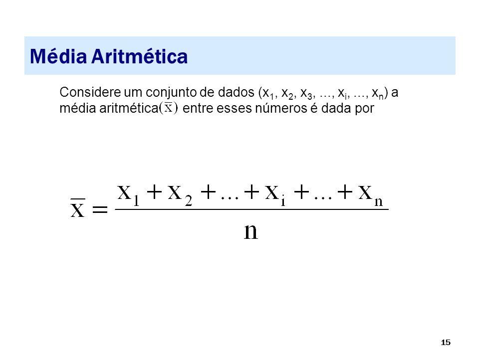 Média Aritmética Considere um conjunto de dados (x1, x2, x3, ..., xi, ..., xn) a média aritmética entre esses números é dada por.