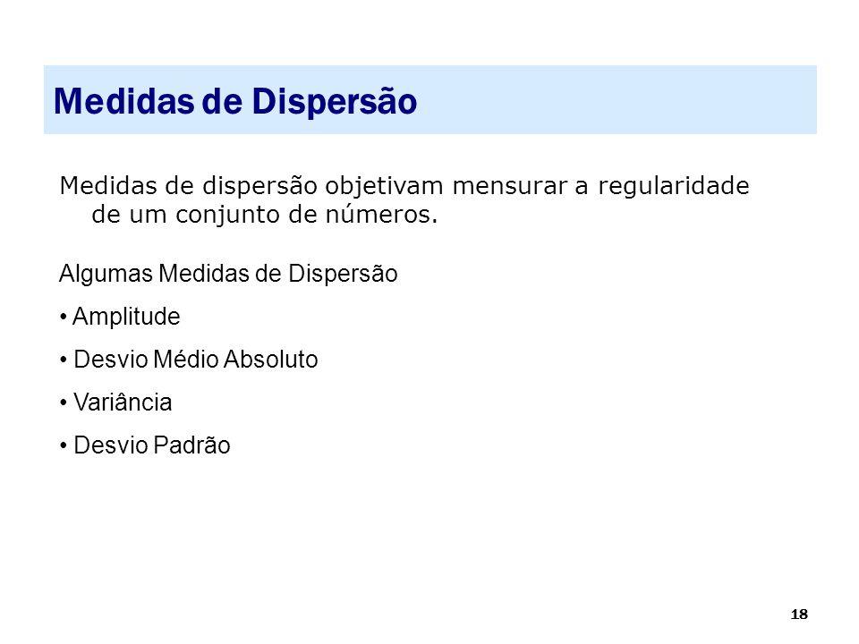 Medidas de Dispersão Medidas de dispersão objetivam mensurar a regularidade de um conjunto de números.
