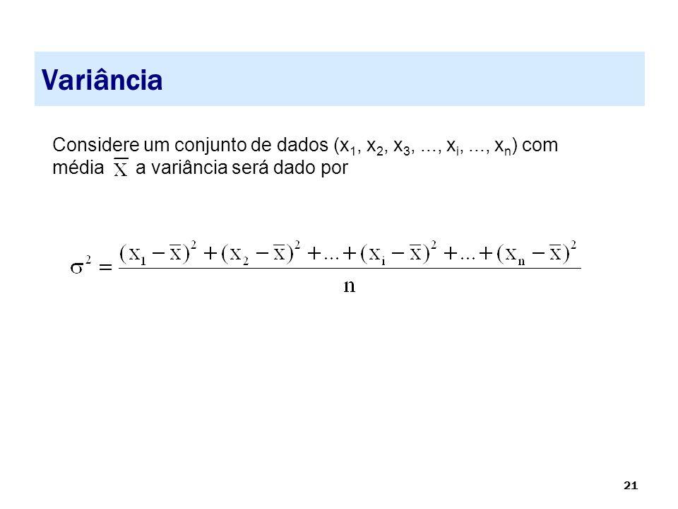 Variância Considere um conjunto de dados (x1, x2, x3, ..., xi, ..., xn) com média a variância será dado por.