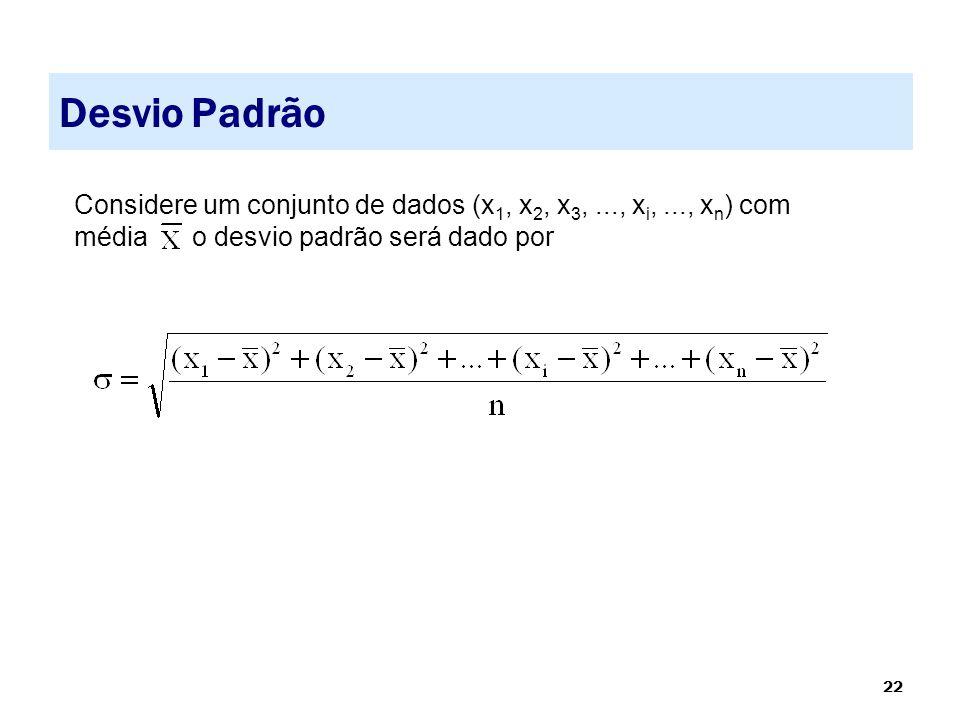 Desvio Padrão Considere um conjunto de dados (x1, x2, x3, ..., xi, ..., xn) com média o desvio padrão será dado por.