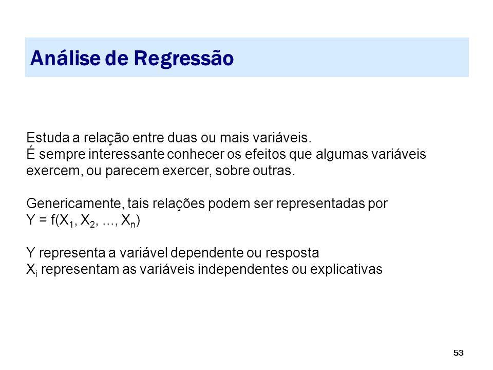 Análise de Regressão Estuda a relação entre duas ou mais variáveis.