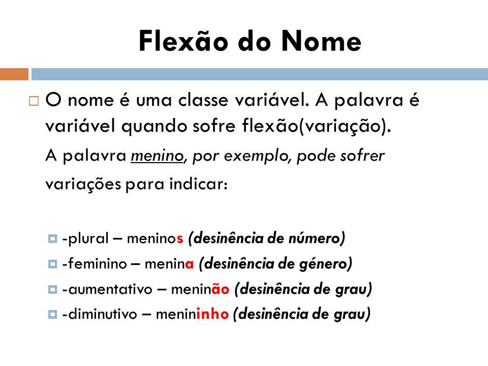 Flexão do Nome O nome é uma classe variável. A palavra é variável quando sofre flexão(variação). A palavra menino, por exemplo, pode sofrer.
