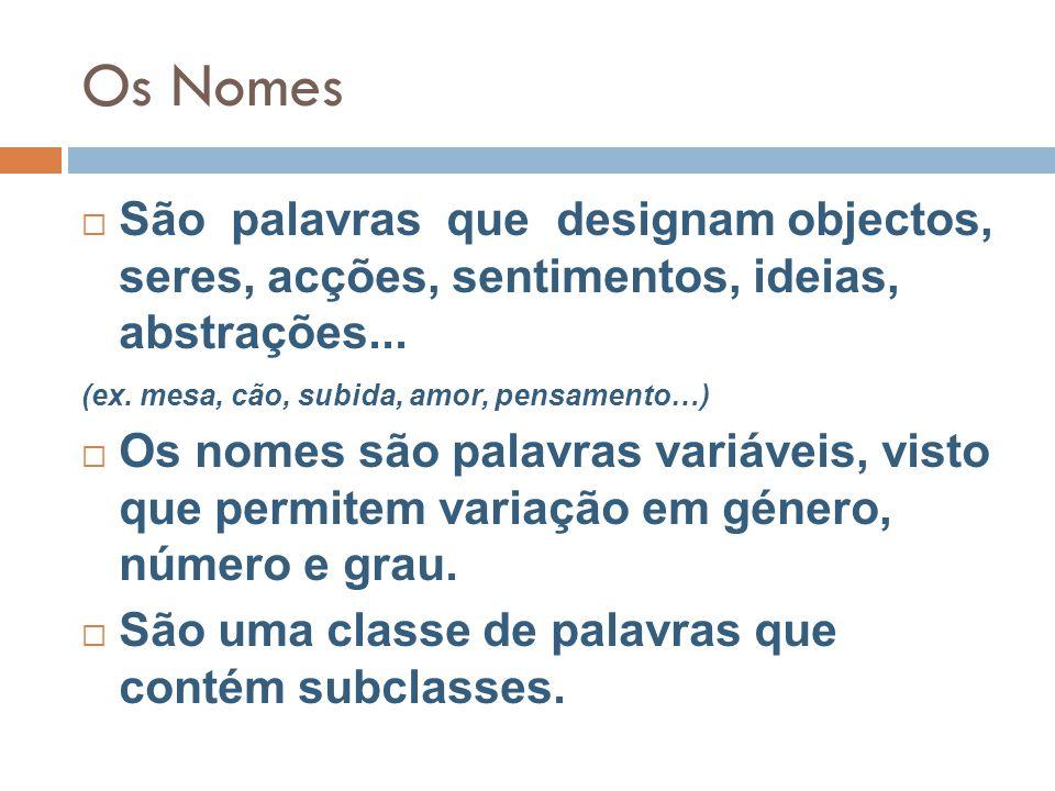 Os Nomes São palavras que designam objectos, seres, acções, sentimentos, ideias, abstrações... (ex. mesa, cão, subida, amor, pensamento…)