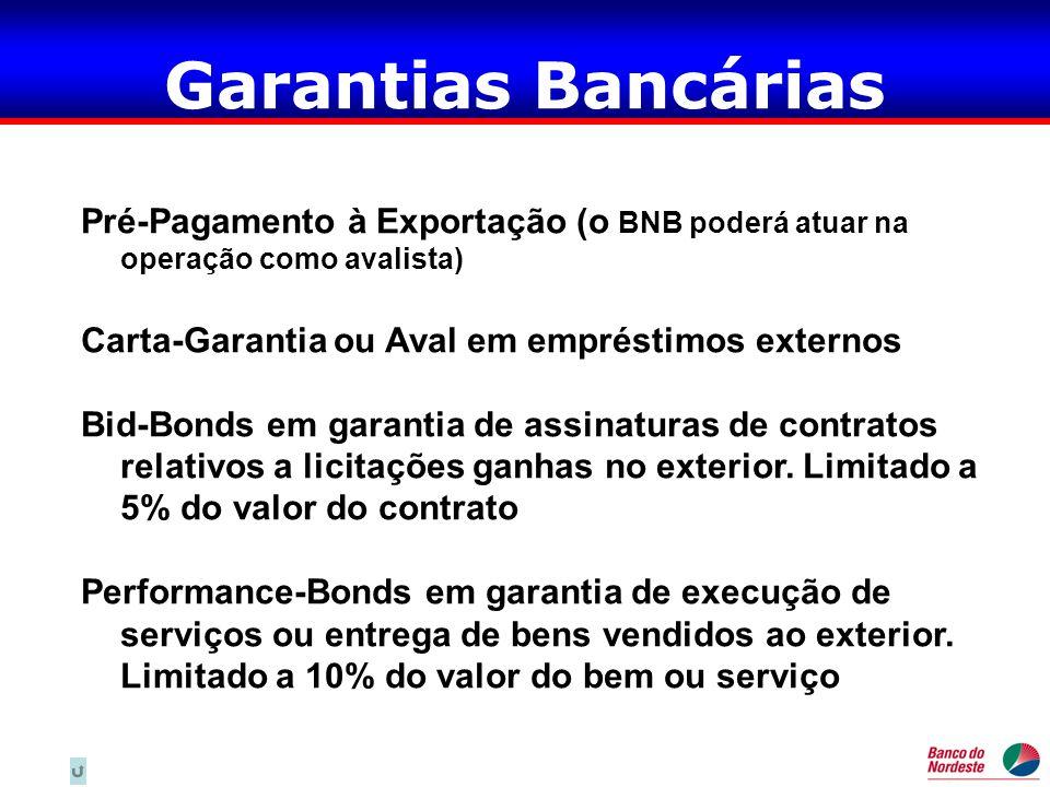 Garantias Bancárias Pré-Pagamento à Exportação (o BNB poderá atuar na operação como avalista) Carta-Garantia ou Aval em empréstimos externos.