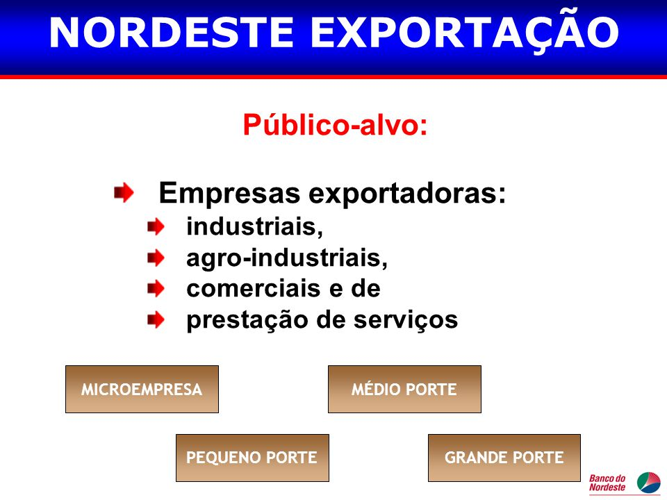 NORDESTE EXPORTAÇÃO Público-alvo: Empresas exportadoras: industriais,