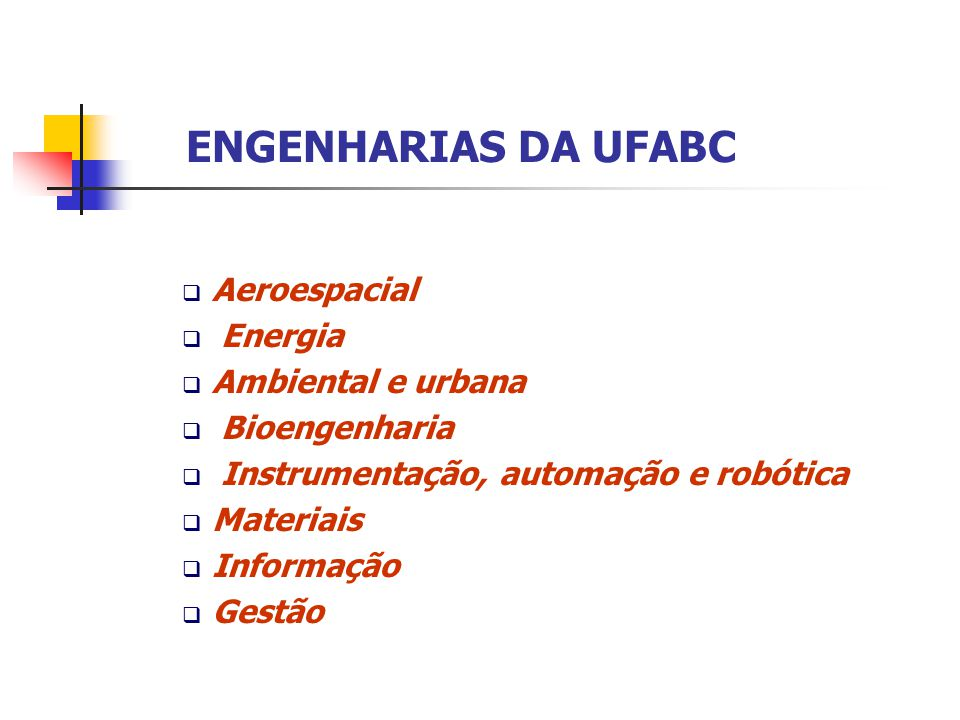ENGENHARIAS DA UFABC Aeroespacial Energia Ambiental e urbana