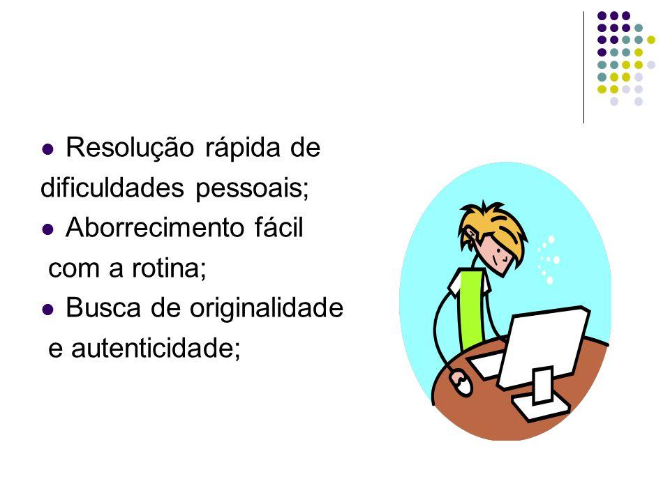 Resolução rápida de dificuldades pessoais; Aborrecimento fácil. com a rotina; Busca de originalidade.