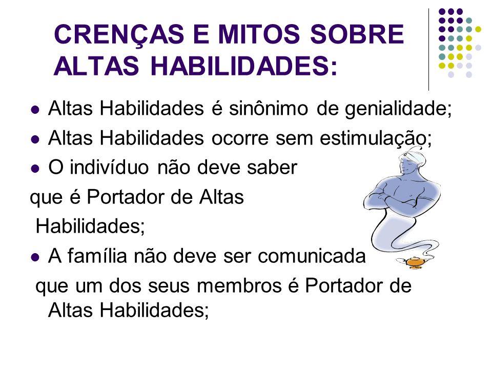 CRENÇAS E MITOS SOBRE ALTAS HABILIDADES:
