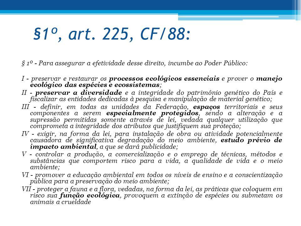 §1º, art. 225, CF/88: § 1º - Para assegurar a efetividade desse direito, incumbe ao Poder Público: