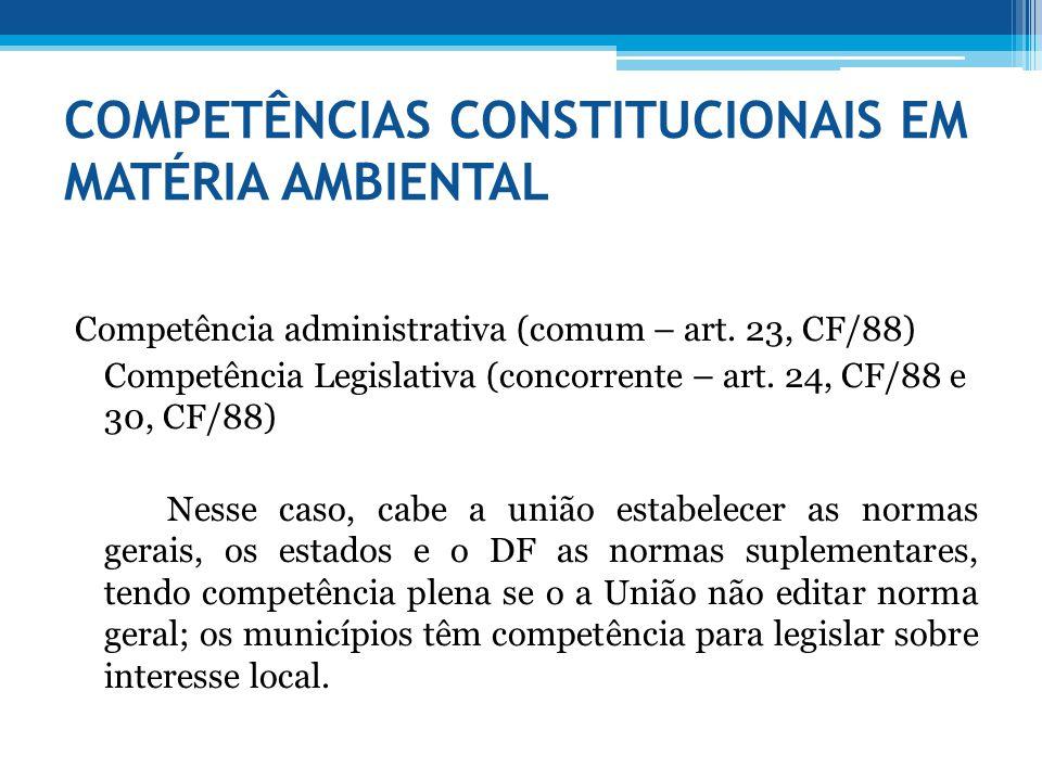 COMPETÊNCIAS CONSTITUCIONAIS EM MATÉRIA AMBIENTAL