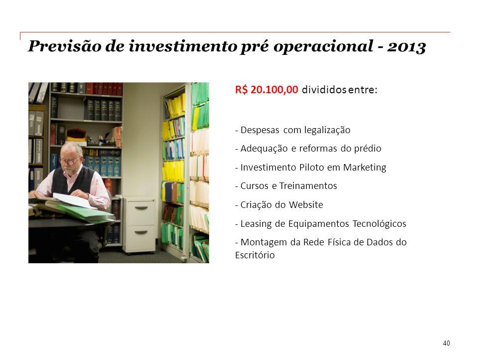 Previsão de investimento pré operacional - 2013