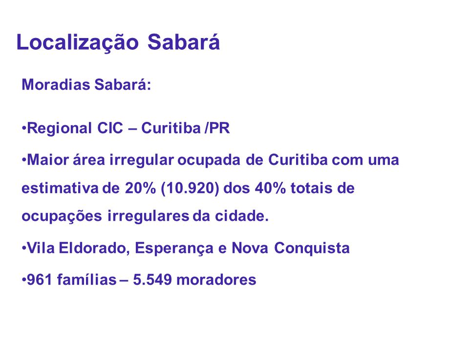 Localização Sabará Moradias Sabará: Regional CIC – Curitiba /PR