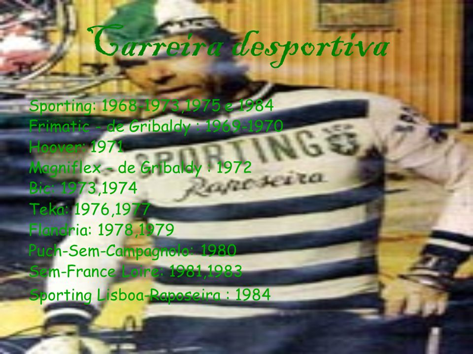 Carreira desportiva Sporting: 1968-1973,1975 e 1984