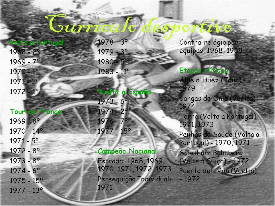 Currículo desportivo Volta a Portugal 1968 - 2º 1969 - 7º 1970 - 1º