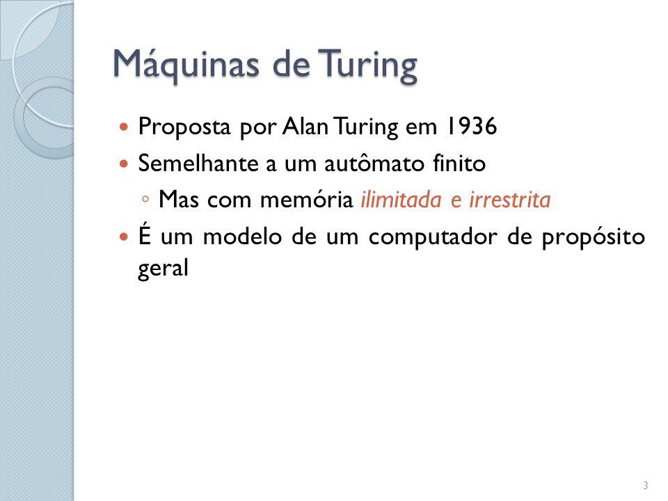 Máquinas de Turing Proposta por Alan Turing em 1936